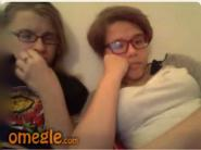 Two girls in glasses flashing for Omegle stranger